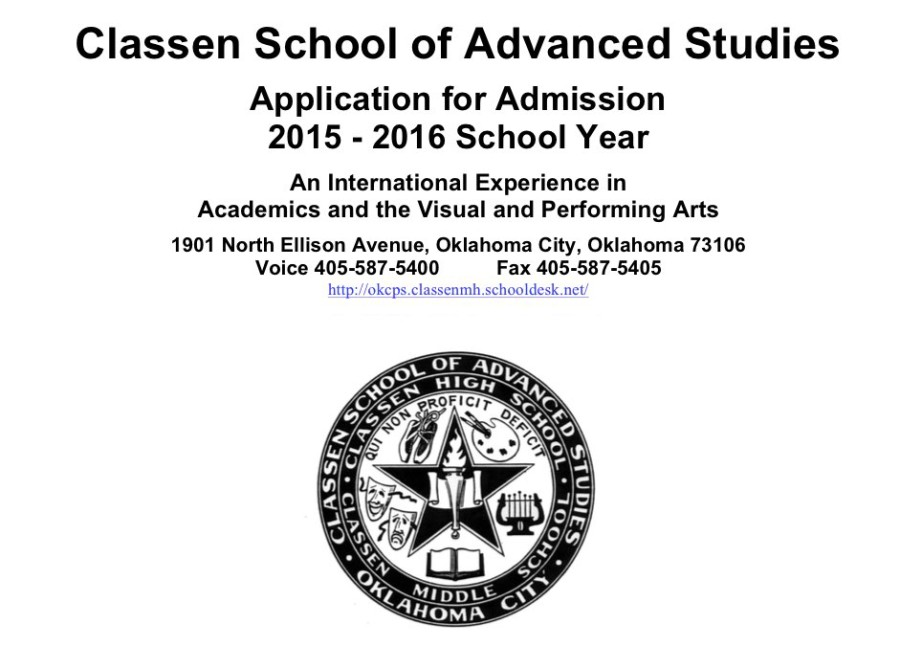 2015-2016 Application for ClassenSAS Available